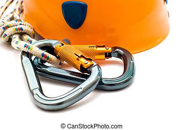 alpinism carabiner and helmet
