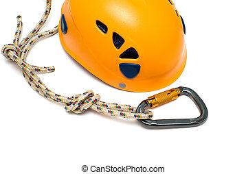 carabiner and orange helmet