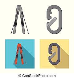 alpinism, conjunto, stock., campo, ilustración, vector,...