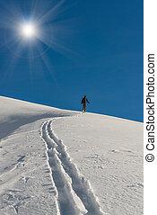 alpinism, montée, ski