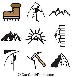 alpinism, montaña, conjunto, iconos