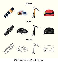 alpinism, set, illustration., campeggiare, simbolo., vettore, disegno, picco, casato