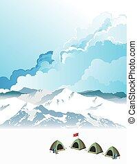 alpinisme, bas camp, aube