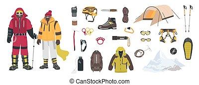 alpinisme, blanc, coloré, habillement, vecteur, grimpeurs, isolé, escalade, équipement, touristique, dessin animé, alpinistes, illustration., paquet, arrière-plan., ou, mâle, femme, outils, montagne