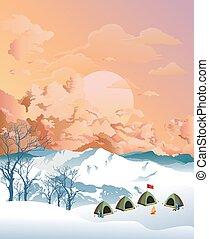 alpinisme, camp, aube, base