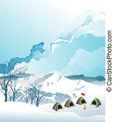 alpinisme, camp, base
