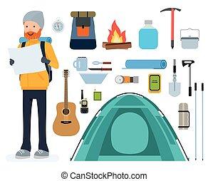 alpinisme, plat, ensemble, nuit, icons., adventure., vecteur, tourisme, escalade, tente, dessin animé