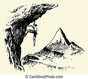 Alpinist mountain peak drawn vector sketch