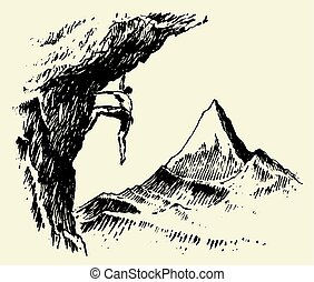 Alpinist mountain peak drawn vector sketch