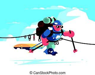 alpinista, personagem, homem