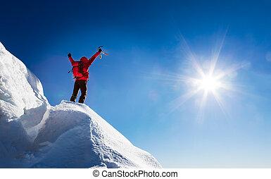 alpinista, summit., celebra, conquista