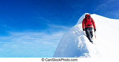 alpiniste, effort, neigeux, détermination, concepts:, peak., sommet, courage, arriver, self-realization.