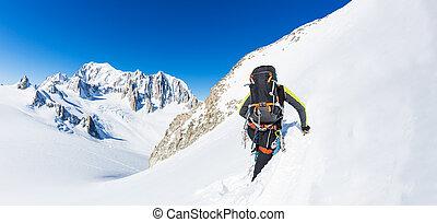 alpiniste, fond, neigeux, montées, mont, sommet, glaciers, peak., blanc, plus haut, mountain., européen