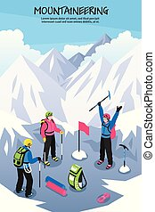 Alpinists On Top Background