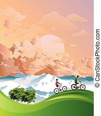 alpino, ciclismo, vacaciones del verano