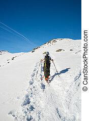 alpino, el viajar del esquí, hacia, la cumbre