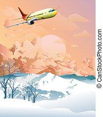 alpino, encima, amanecer, montañas, avión, vuelo