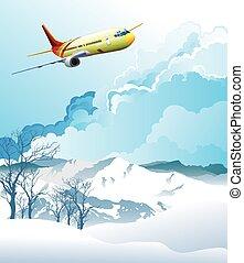alpino, encima, montañas, avión, vuelo