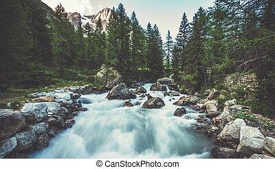 alpino, rio, em, a, itália