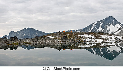 alpino, selva, acampamento