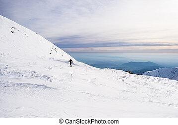 alpino, viajar, hacia, la cumbre