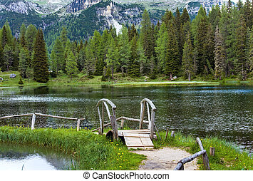 alpino, vista, estate, lago