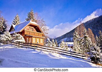 alpok, osztrák, hegy, idillikus, falu