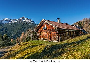 alps, berg, altes , hölzern, hütte, kabine, herbst, ländlicher querformat