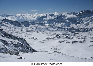 alps from the Plateau Rosa - peaks in valtournanche, near...