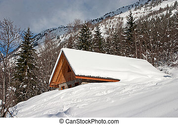 Alps in winter - 2 - Chalet covered with snow in the French ...