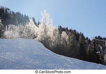 Alps in winter - Mountain around the Oz en Oisans Station in...