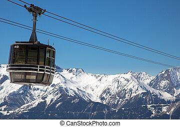 Alps in winter - The ski lift of Vaujany and Oz en Oisans ...