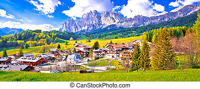 Alps landscape in Cortina D' Ampezzo panoramic view, idyllic...