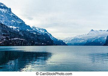 Alps mountain landscape. Winter lan