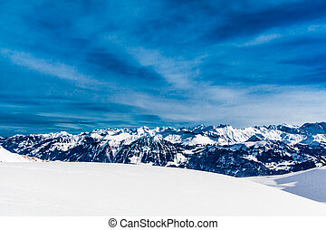 Alps mountain landscape. Winter lan