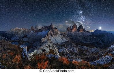 Alps Mountain landscape with night sky and Mliky way, Tre Cime di Lavaredo, Dolomites