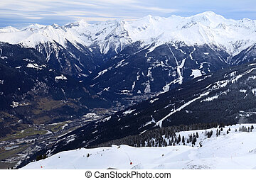 Alps Mountains and Alpine Village in the valley (Austria)