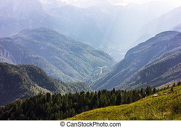 Alps mountains summer view from Mangart peak, Slovenia -...