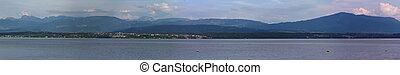 Alps mountains upon Geneva lake pano, Switzerland