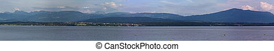 Alps mountains upon Geneva lake pano, Switzerland