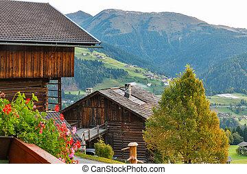 Alps mountains village landscape in Austria.