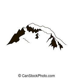 Alps peaks silhouette elements. Mont Blanc - Alps mountain...