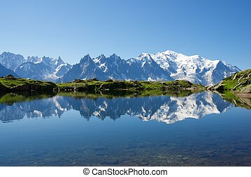 Alps - Mont Blanc reflected in Cheserys Lake, Mont Blanc...