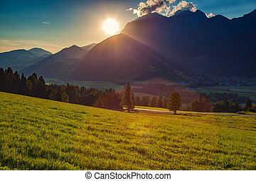alps, sonnenuntergang, landschaftsbild