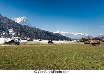View over Alps from Loisach Valley, Garmisch-Partenkirchen, Germany
