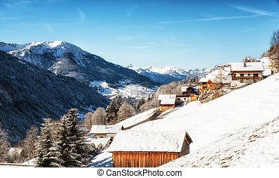 alps, vorarlberg, winter, bereich, hütte, österreicher , ski, landschaftsbild