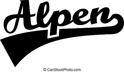 Alps word retro font - german