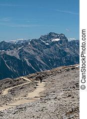 alpy, góry, pieszy, lato, dolomity, kamień, czas, jałowy, ścieżka, człowiek, kapelusz, włoski
