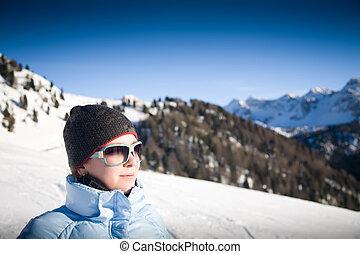 alpy, kobieta, młody, włoski