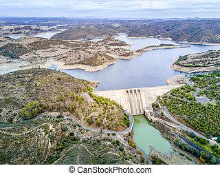 Alqueva Dam on Guadiana river in hilly Alentejo, Portugal